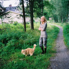 Like Walking The Cat (Luminiferous aether) Tags: colour rolleiflex cat t fuji sweden rolleiflext realia fujirealia norwegianforrest