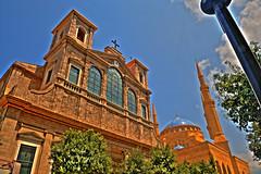 Islam & Christianity in Harmony (Ashraf Khunduqji) Tags: lebanon landscape nikon cathedral islam religion central mosque harmony christianity charming beirut hdr d3 mohamed alameen 14mm maronite ashrafkhunduqji