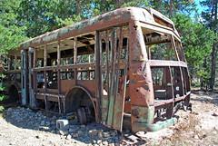 Dead Bus (likethebike) Tags: park mountains fall water leaves rockies gold colorado lakes meadows aspens estes quakies