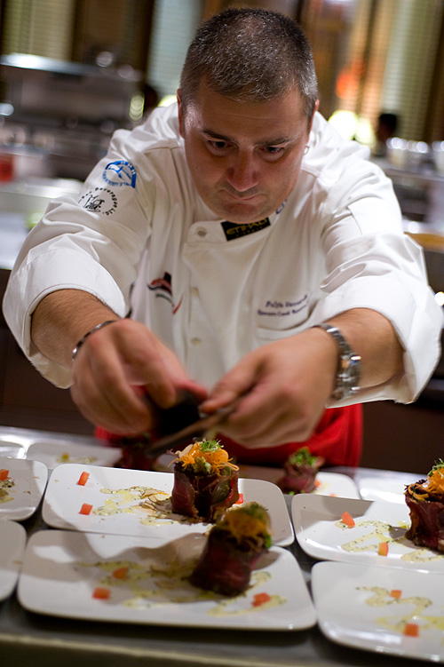 Chef Fulvio Siccardi shaving truffles, Four Seasons Bangkok World Gourmet Festival
