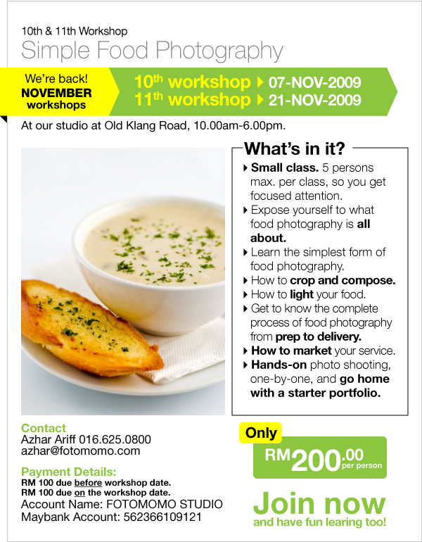10th and 11th Simple Food Photography Workshop