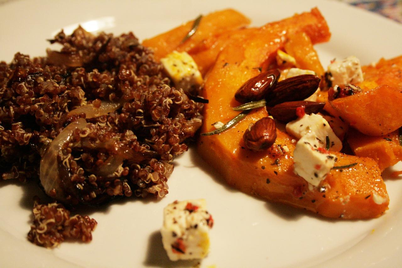 ovnbagt græskar og rød quinoa