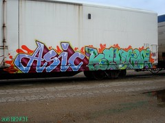 Asic, Keptoe (208 Bench) Tags: ca art train graffiti crew etc fiberglass graff freight reefer asic tilx keptoe