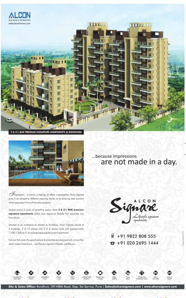 Alcon Signare - 2 BHK & 2.5 BHK Flats at Kondhwa Budruk - off NIBM Road - opp. Sai Service Station - Pune 411 028 - Launch Ad 2 - (6-5-2011)