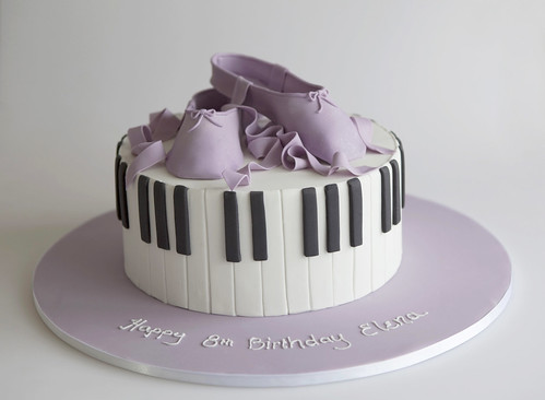 Piano and Ballet Birthday Cake