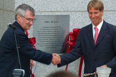 Ornoth attended the dedication of the PMC Plaza, which fronts Dana-Farber's first new clinical building since 1975.