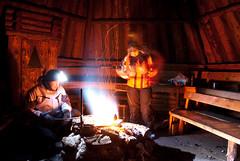 Laplander's hut (neatmummy) Tags: longexposure winter camp snow fire nikon sausage trail hut lapland flashlight 1855 nikkor spark vr lappi d60 longexp gorillapod lightroom2 laplandershut
