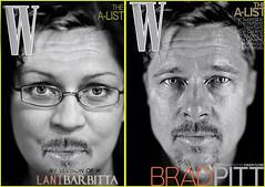 i wanna be like brad... (Lani Barbitta) Tags: blackandwhite selfportrait photoshop parody bradpitt hehehe wmagazine 18200mmvr nikond80 lanibarbitta bradsimageborrowedfrominternet ihadacrushonbrad