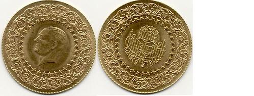 1951, 2.50 Kurus Turkey Ottoman Gold Coin , Monnaie De Luxe Kemal Ataturk KM873