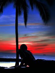 Surfer (rm996s) Tags: sunset beach fire hawaii waikiki surfer surfing explore hi honolulu waikikibeach explored
