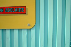 Adelaide (guajava) Tags: city urban toronto ontario canada sign restaurant cafe day outdoor turquoise ad advert siding 166mm