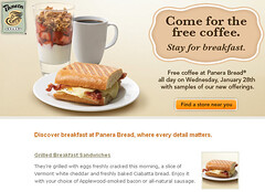 Free coffee at Panera today! January 28, 2009