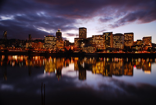 Portland Skyline at Dusk, Jan 29 09