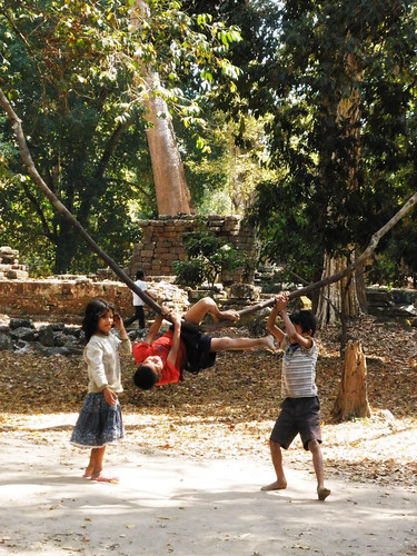 Life Is Just a Tire Swing - Cambodian Children Playing at Angkor Thom