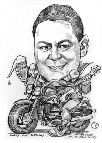 Caricature on Triumph bike + Guinness pint + electric guitar