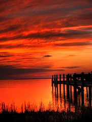 Sittin' On The Dock Of The Bay (hburrussiii) Tags: sunset red orange reflection water clouds canon bay pier is nc dock sitting otis northcarolina powershot sound outer outerbanks redding hdr banks obx sittin s5 killdevilhills on the albemarle 3xp kdh photomatix aplusphoto banx colourartaward artlegacy
