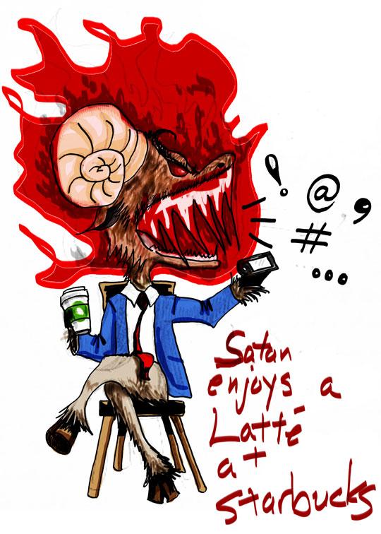 Satan enjoys a latte at Starbucks