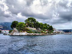 mpourtzi - skiathos (aerialist *) Tags: rain clouds overcast greece skiathos sporades bourtzi greekisland mpourtzi