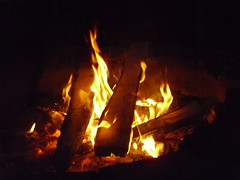 Camp fire burning bright