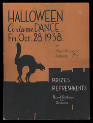 Hand Painted 1938 Halloween Costume Dance Poster (Ballyhooligan) Tags: orange black halloween cat pumpkin dance costume russell or orchestra treat trick prizes refreshments rutledge