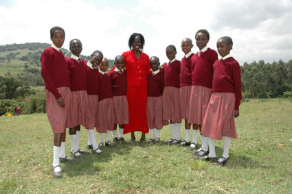 Kakenya and her lovely smart students in Kakeny Center for Excellence before she left her village.