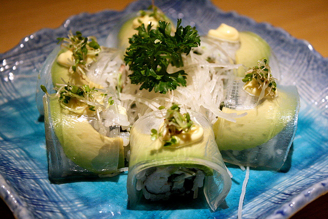 Beauty Roll S$14 - avocado, crabmeat, and the transparent jelly-like strip is collagen!