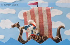 Episode #15 (SanforaQ8) Tags: blue red sea sky white mushroom lens 50mm nikon village free photographers 15 finepix fujifilm characters kuwait smurf viking ramadan 2009 episode q8 homestudio s5pro sanfora papsmurf papasmurfseachaptain