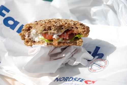 salmon sandwich from Nordsee on very good seed bread