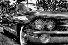 1961 Cadillac (mr.hemmo) Tags: bw white black 35mm suomi finland blackwhite nikon dof cadillac shallow hdr caddy 1961 d90 photomatix 18g nkkor