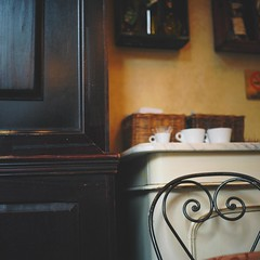 Retro (Inside_man) Tags: stilllife newyork 120 6x6 tlr film coffee colors rolleiflex mediumformat cafe chair manhattan interior citylife retro ironwork countertop portravc