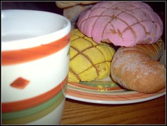 Saturday night... (Maria Carrera) Tags: bread sweet chocolate plate mexican mug pan mexicano dulce caliente avena