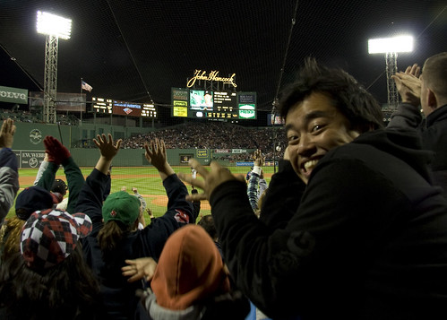 doin' the wave at fenway
