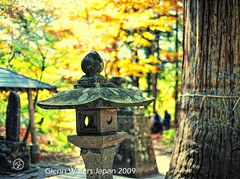 Japan in Autumn at Momiji Yama Shrine   Glenn E Waters (Glenn Waters in Japan.) Tags: old autumn mountain tree history fall lamp japan japanese 50mm maple nikon shrine bokeh f14 sigma explore momiji tradition   stonelamp  500years   explored    d700  glennwaters sigma50mmf14exdghsm