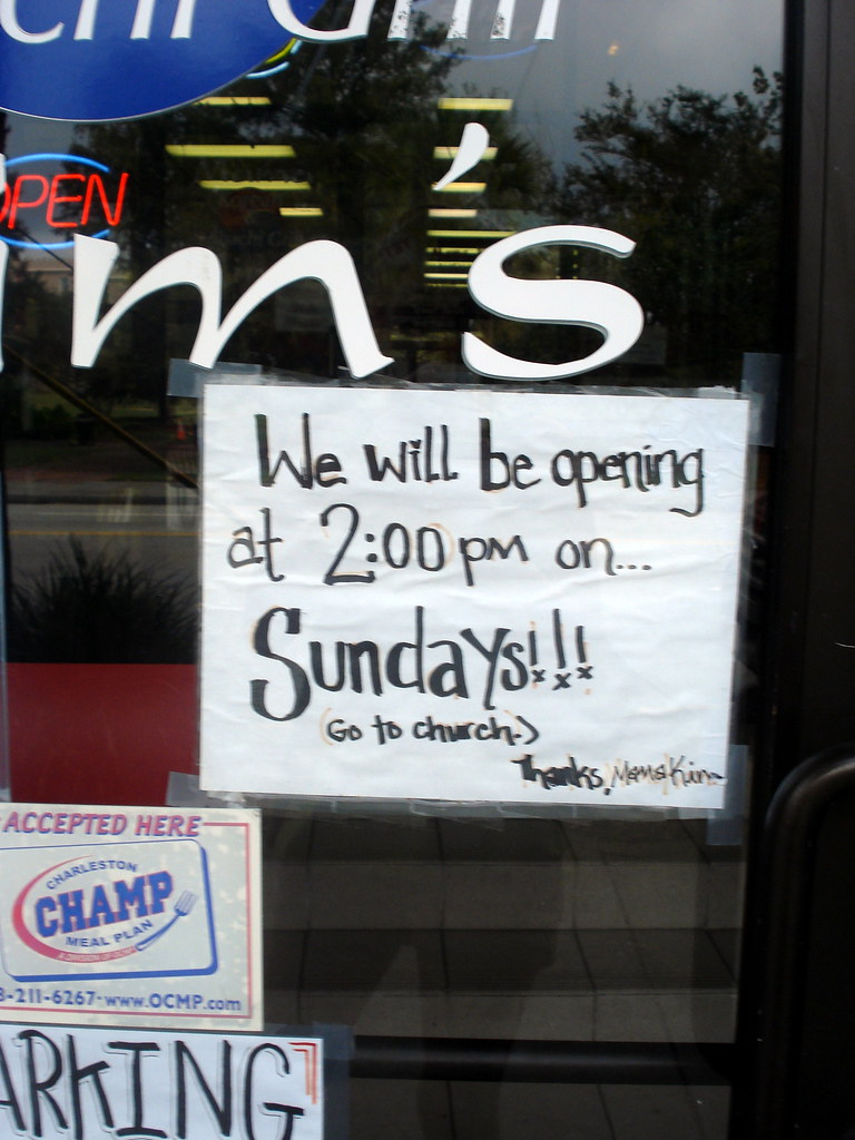 We will be opening at 2:00pm on... Sundays!!! (Go to church.) Thanks, Mama Kim
