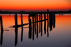 Posts At Sunset (Sunset Snapper) Tags: blue sunset red sea reflections bosham westsussex calm stillwater posts