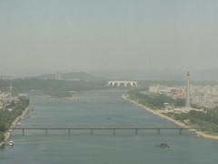View over Taedong River from Yanggakdo Hotel - Pyongyang (mikestuartwood) Tags: asian asia north korea communist communism korean socialist socialism northkorea dprk dpr northkorean dprkorea dprkorean