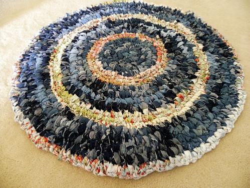 Upcycled denim jeans rag rug