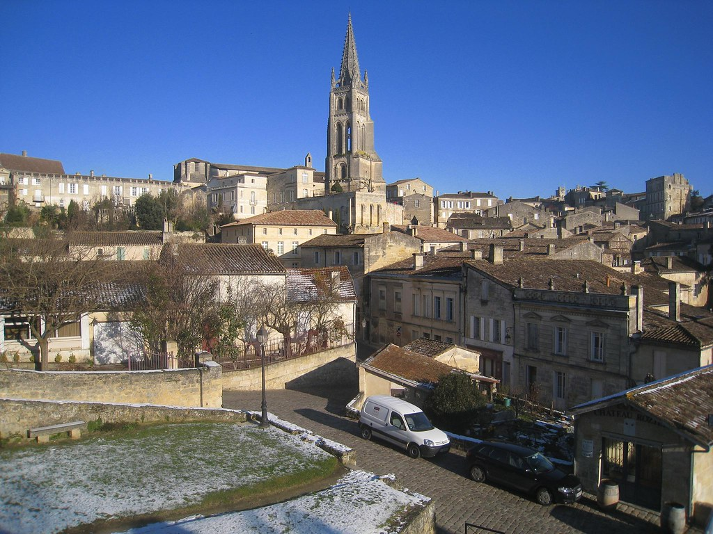 The medieval town of Saint-Emilion (France) is a UNESCO World Heritage Site surrounded by vineyards.