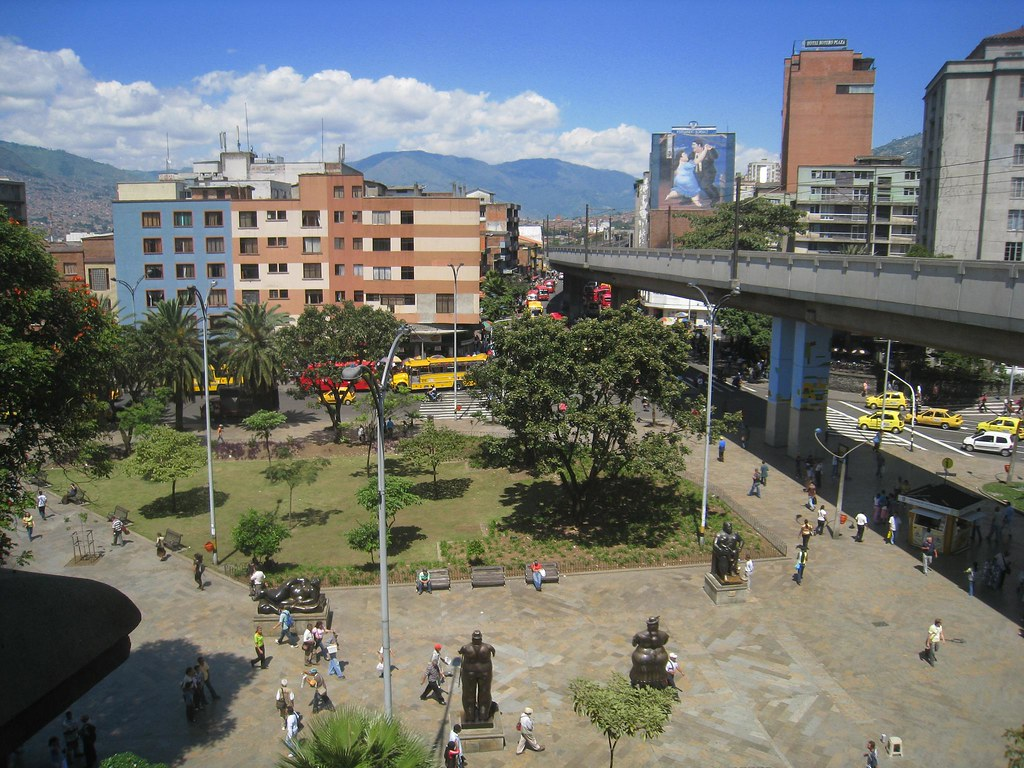 Looking down on the iconic sculptures of Botero Plaza in downtown Medellin.