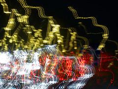 Headlights (ailie*) Tags: road street city longexposure red white toronto black cars car yellow night dark lights evening driving colours bright streetlights patterns headlights streaks ailie