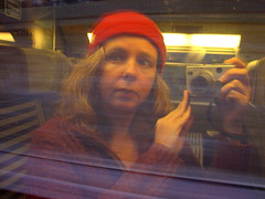 Self-portrait in window of Eurostar