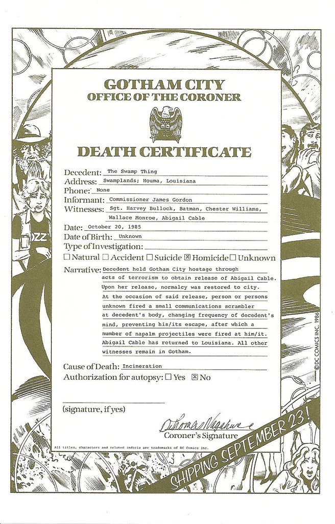 Swamp Thing Death Certificate