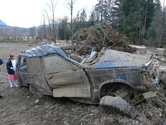 This is what happens when you leave your jeep in the path of a landslide
