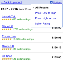 Mobile product search - sorting options