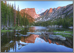 dream lake reflection (Rich'sPics) Tags: reflection colorado hiking hdr rockymountainnationalpark dreamlake canon1022 photomatix canoneos40d