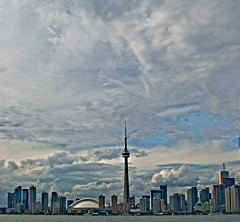 Little city (sashdc) Tags: sky toronto ontario tower clouds cn landmark stitched looming