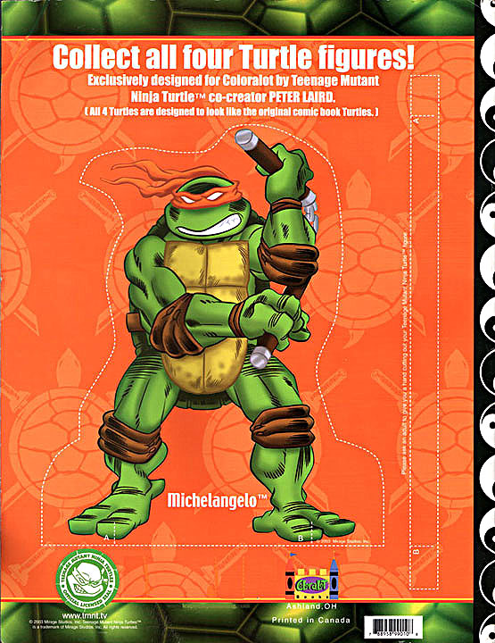 teenage mutant ninja turtles coloring book coloralot books back cover michealangelo - Teenage Mutant Ninja Turtles Coloring Book