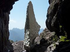 Le névé du couloir central : depuis la grotte