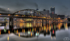 Pittsburgh early morning (Write Outside) Tags: city morning bridge reflection beautiful skyline skyscraper sunrise river lights nikon pittsburgh pennsylvania explore reflexions hdr allegheny d40x