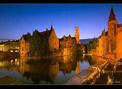 Bruges, Belgium (Yen Baet) Tags: reflection harbor canal dock europe nightshot belgium brugge wideangle unesco worldheritagesite bruges bluehour flemish boatquay flanders longexposures sigma1020mm nikond200 medievalcity rosarydock rosenhoedkaai